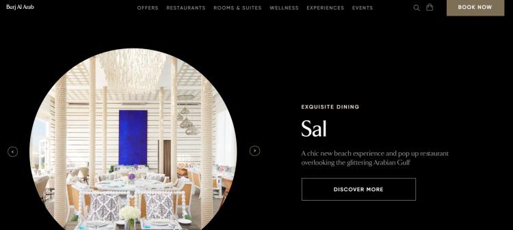 Hotel website design Book now button of Burj Al Arab Hotel