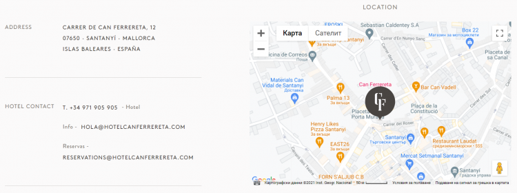 Hotel web design location map on Can Ferrereta pages