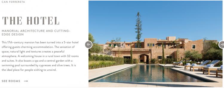 Hotel web design Can Ferrereta visuals