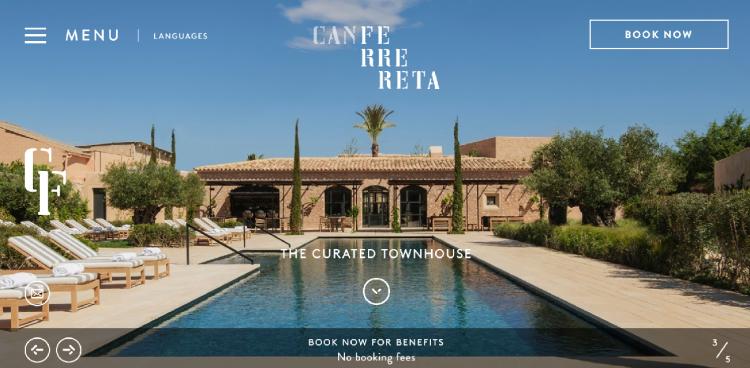 Hotel web design Can Ferrereta home page