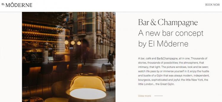 Hotel web design El Moderne paragraphs
