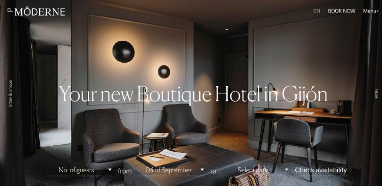 Hotel web design El Moderne home page
