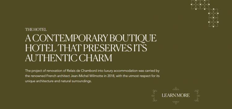 Hotel web design CTA Relais de Chambord
