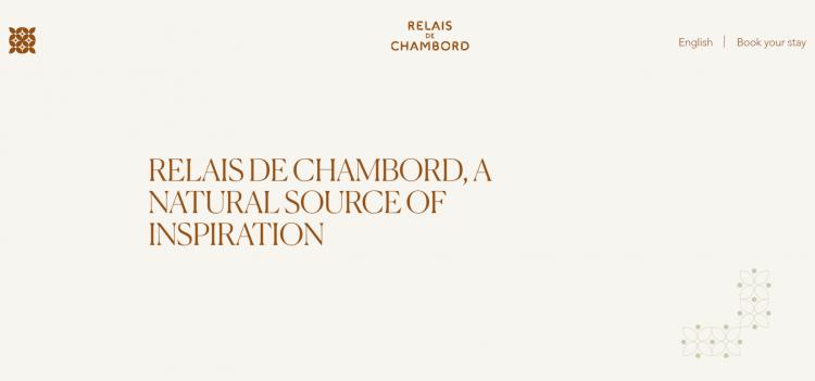 Hotel web design branded ornaments Relais de Chambord
