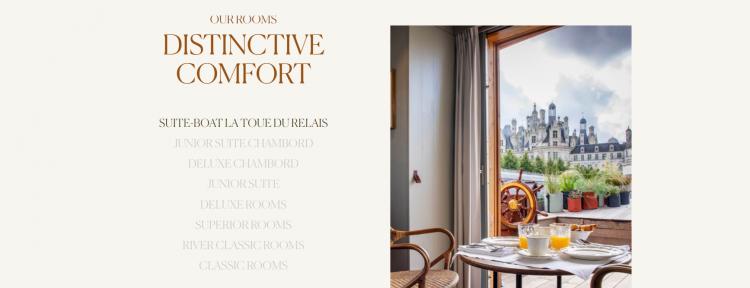 Hotel web design Relais de Chambord visuals